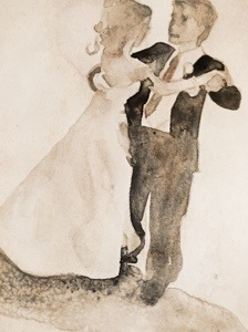 This shows a quick watercolor wash  or study of a bride and groom dancing.