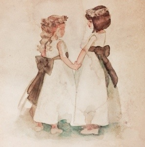 This is a picture of a watercolor wash of two flower girls in a wedding