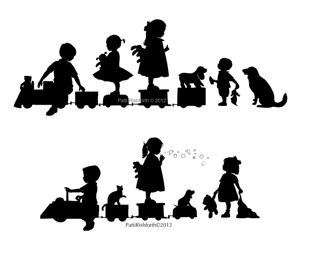 silhouettes of two different families