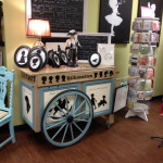 Patti Rishforth's silhouette cart now displayed in Paisley and Paper in Greenville, SC