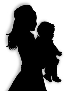 Silhouettes of Princess Kate holding Baby George