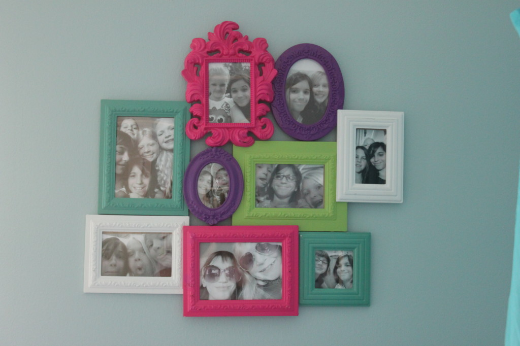 We printed out her favorite friend selfies in black and white to display in this multicolored frame set.