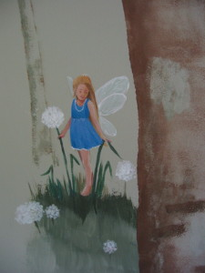 A fairy wanders through dandelion wishes.