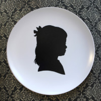 Patti Rishforth original silhouettes displayed on melamine plate