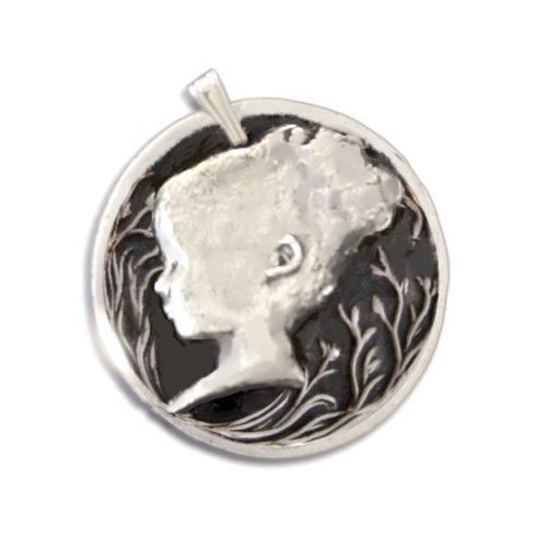 fine silver pendant profile silhouette customized
