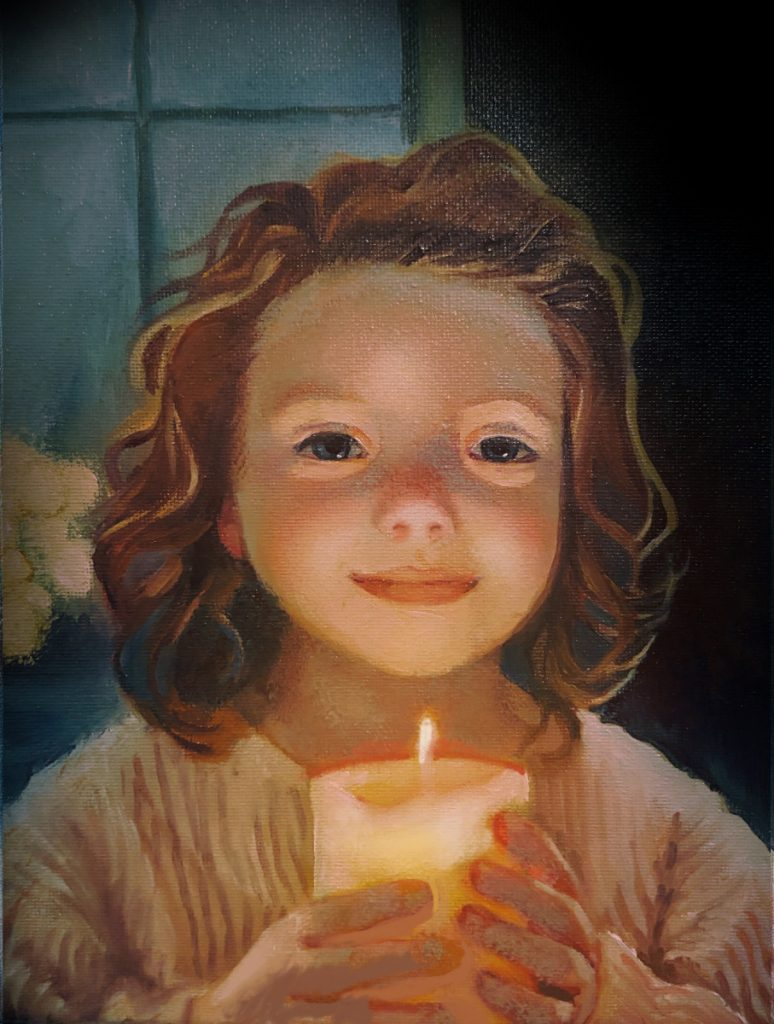 girl holds candle oil portrait