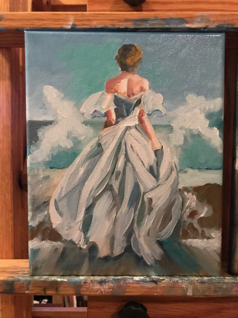 girl runs in gown