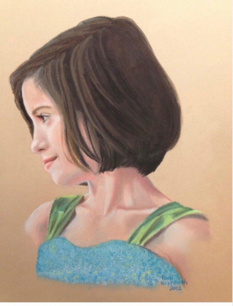 pastel portrait of profile girl