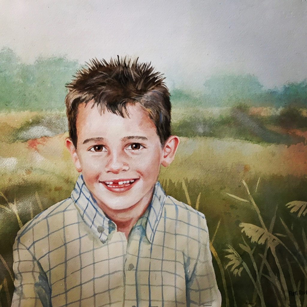 toothless grin boy watercolor portrait