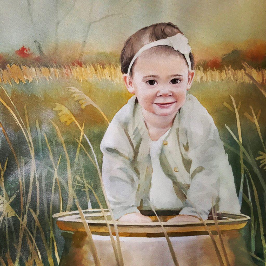 watercolor toddler girl