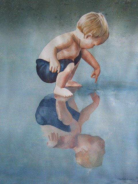 watercolor boy touches reflection