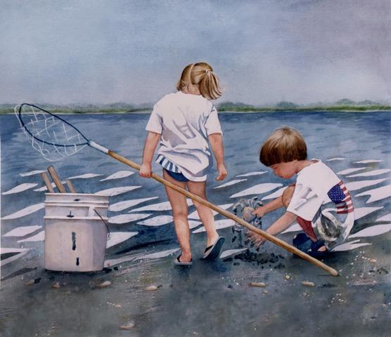 watercolor kids crabbing