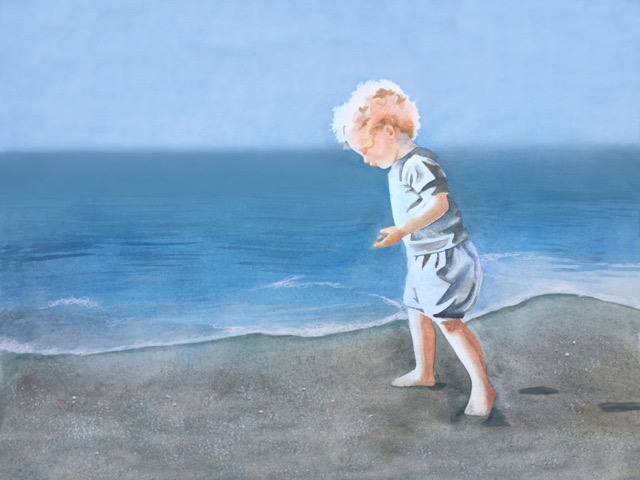 girl at shore low tide soft wind