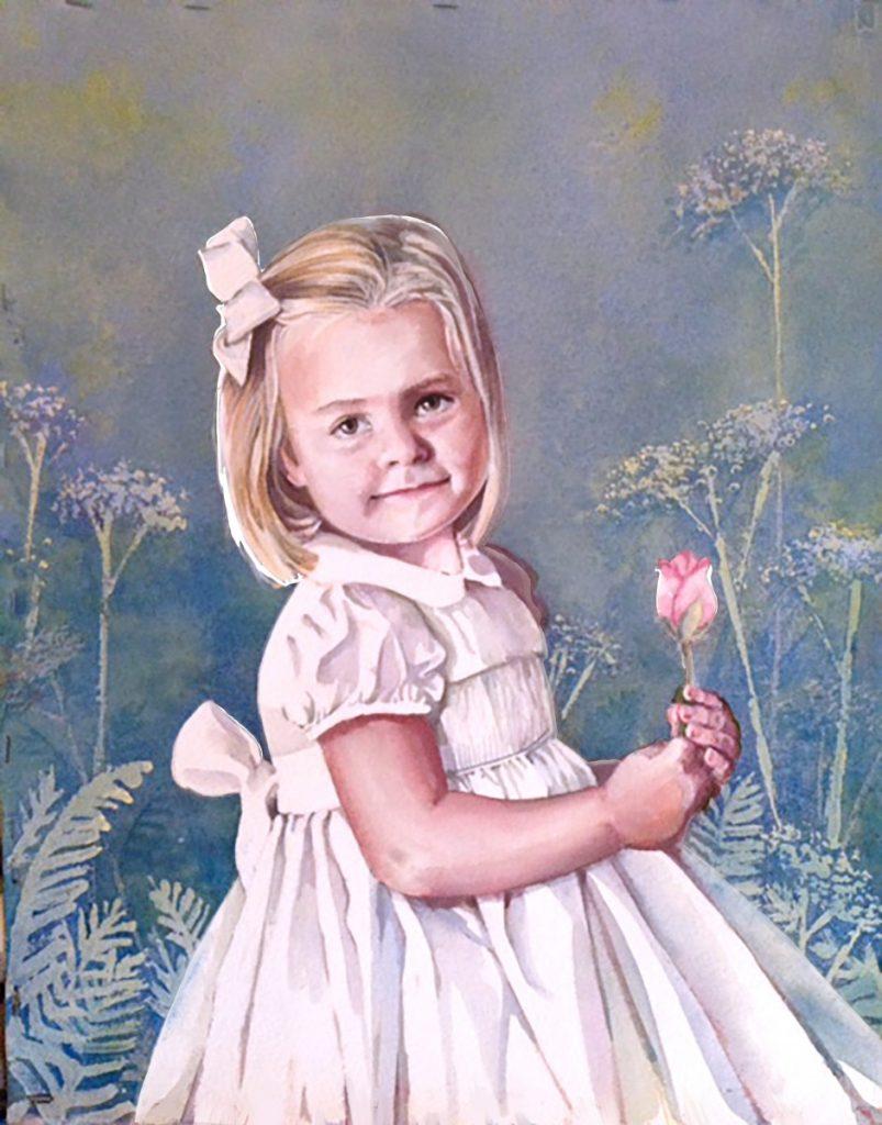 rosebud girl watercolor