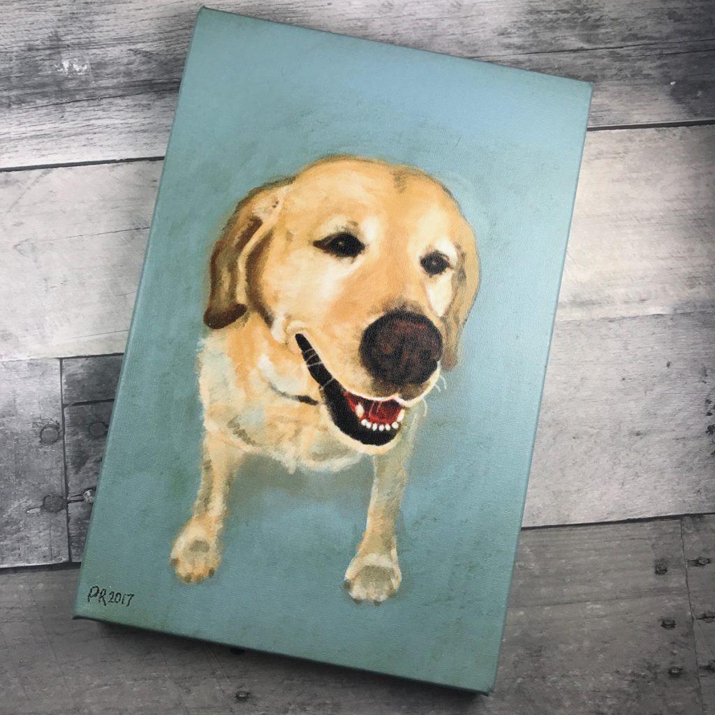 golden labrador oil portrait