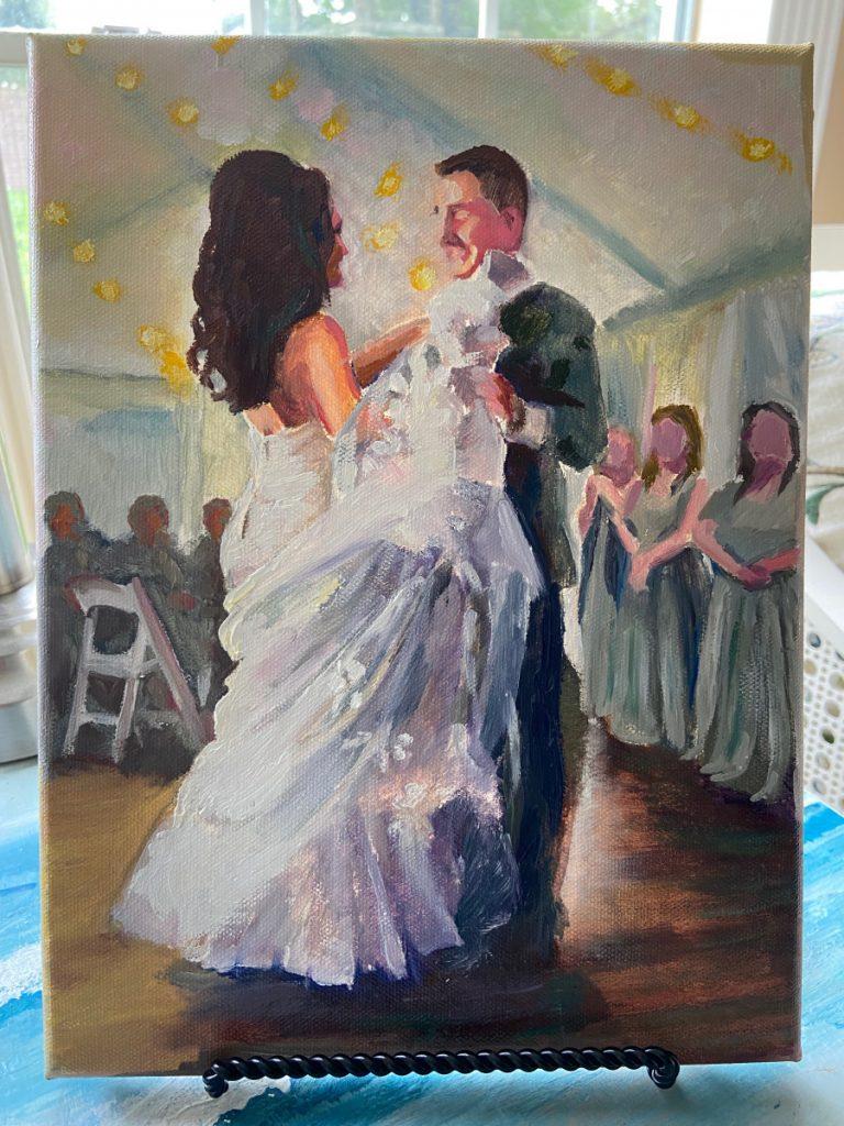 wedding couple oil portrait