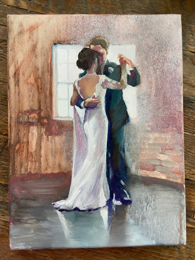 bride and groom oil portrait
