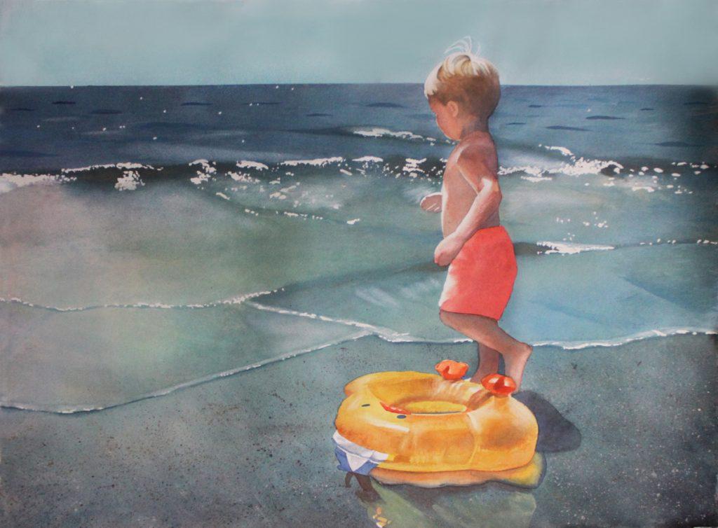 watercolor boy in bright sun at beach